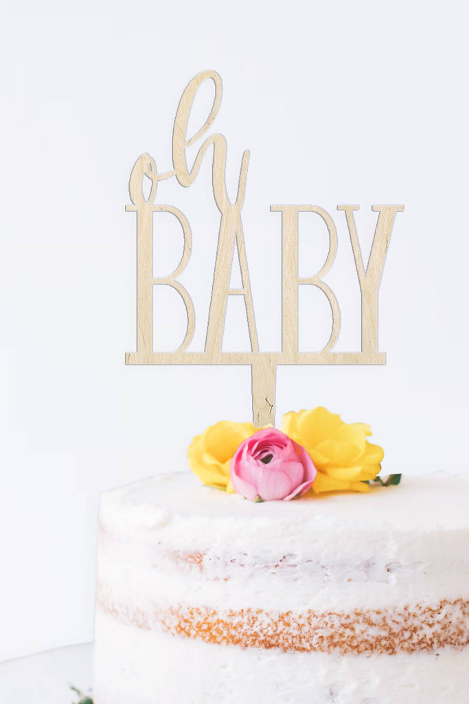 Wooden reusable Oh baby baby shower cake topper