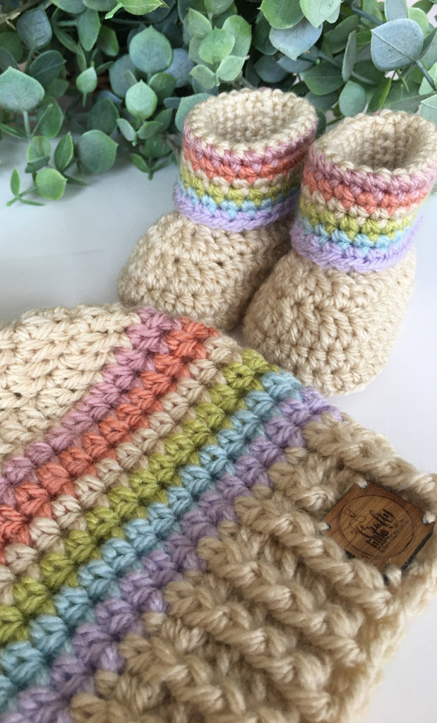 Crochet Rainbow Booties