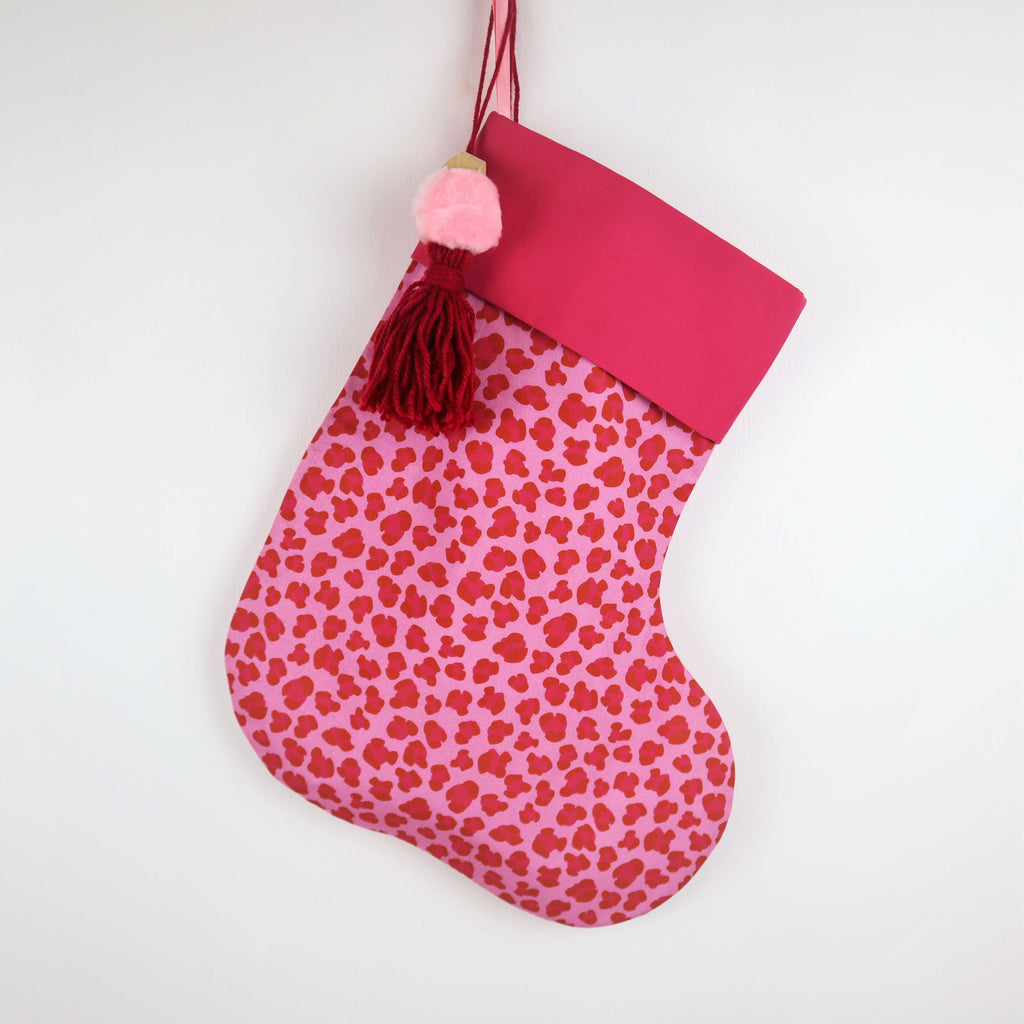 Personalised Pink Leopard Print Christmas Stocking