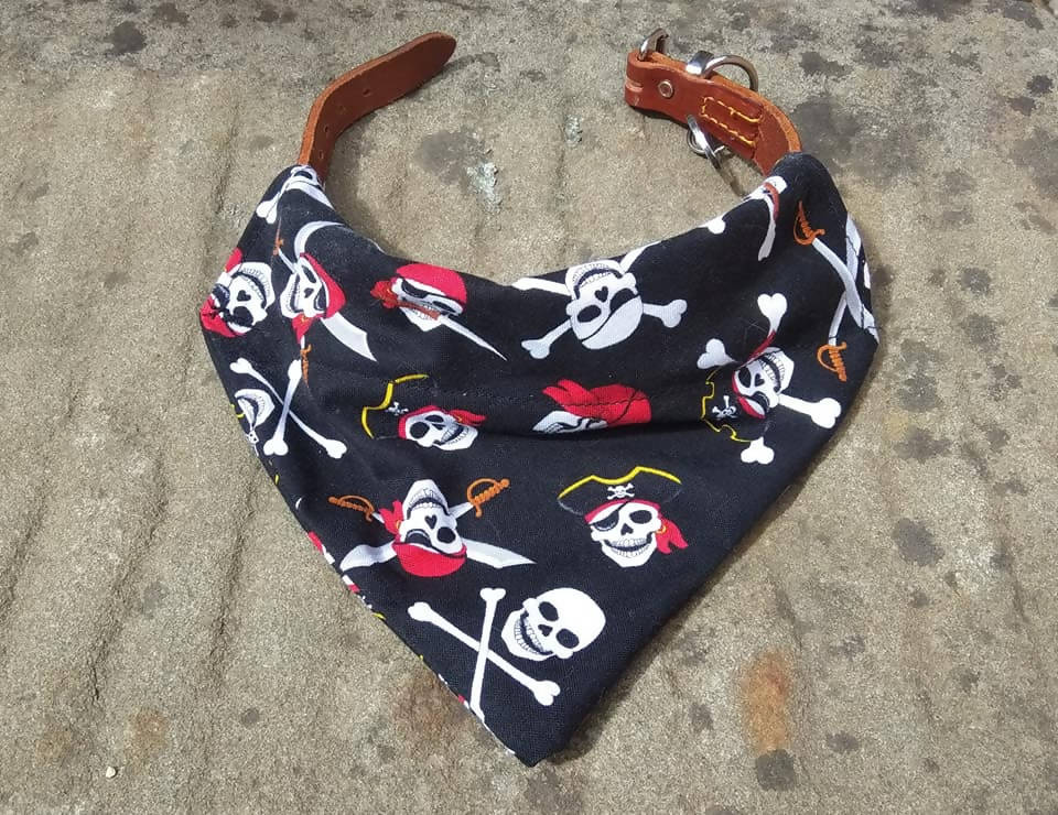 Skull and crossbones pirate dog bandana, slip over dog bandana, pet gift