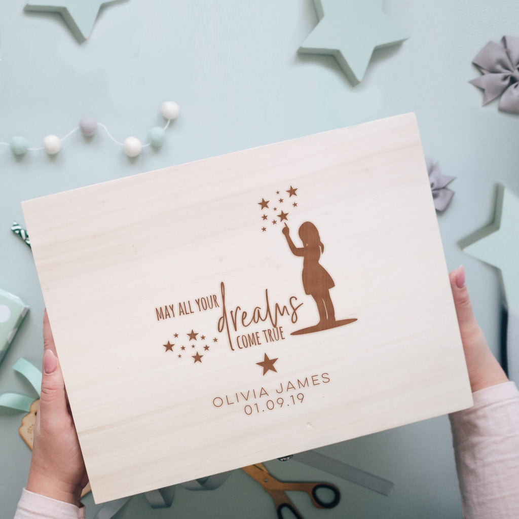 'May All Your Dreams Come True' New Baby Keepsake Engraved Memory Box