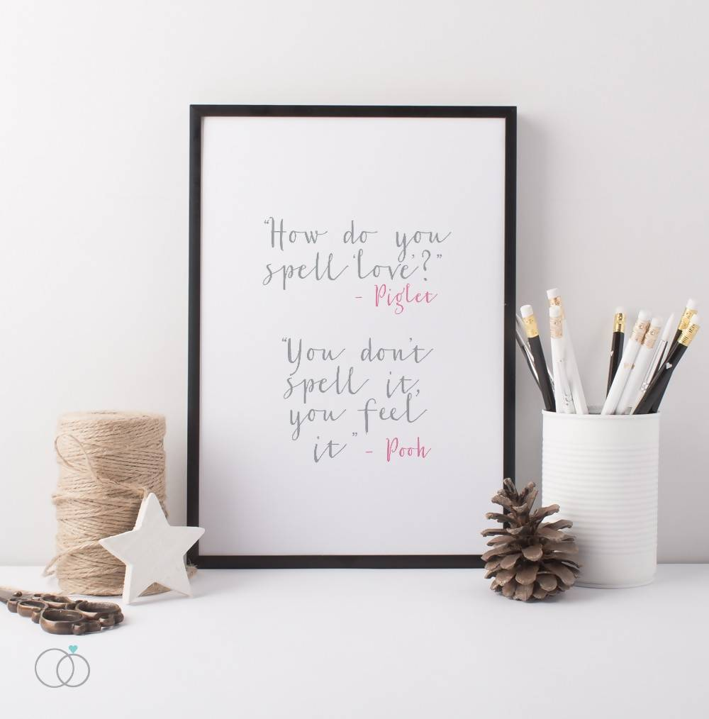 How do you spell love Winnie the Pooh quote print -  Inspirational Art Print - LoveLi