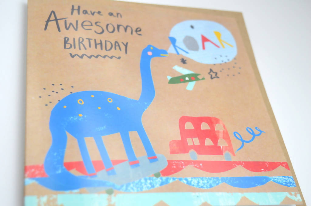 Dolly Pepper Studio, Greeting cards, birthday cards, dinosaur, roar, transport, Cards for him