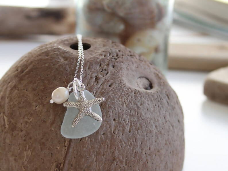 Starfish and Sea Glass Necklace