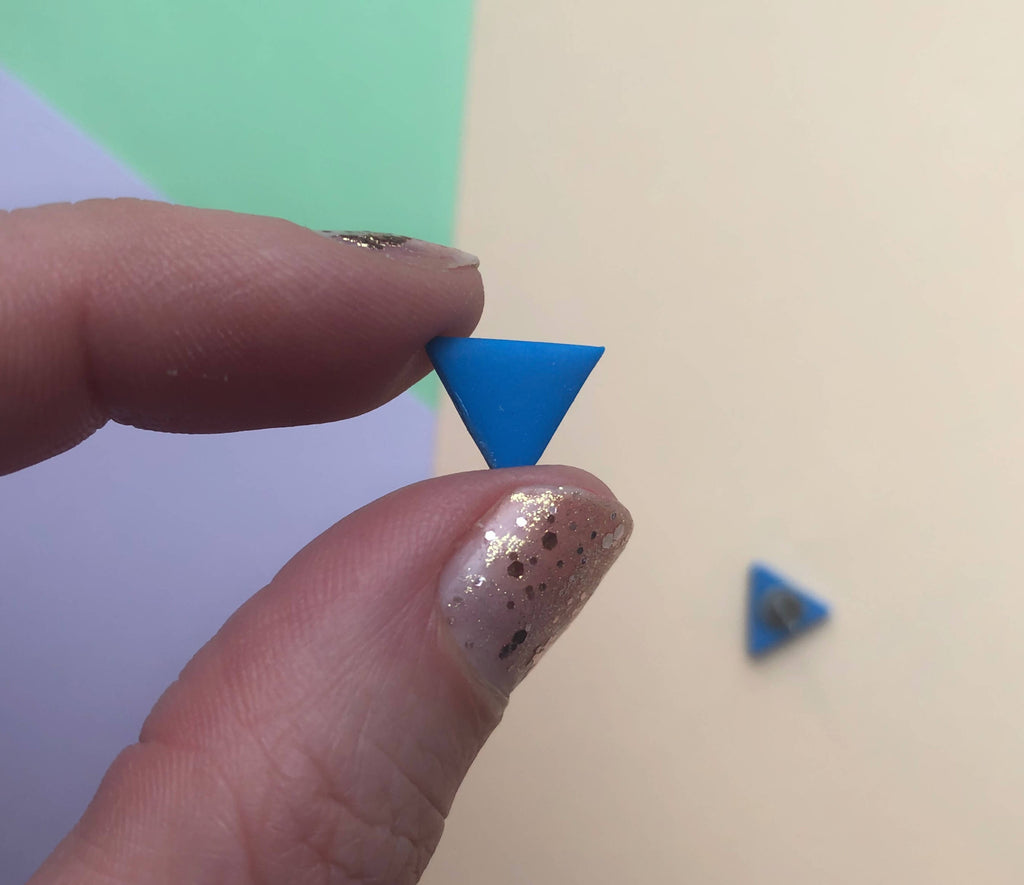 Blue triangle clay earrings