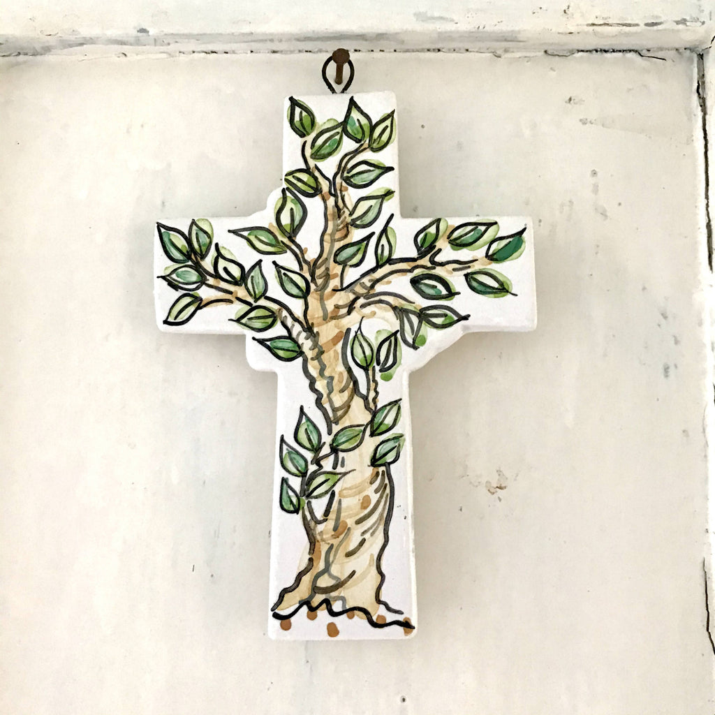 Tree of Life Cross Pottery Wall Art