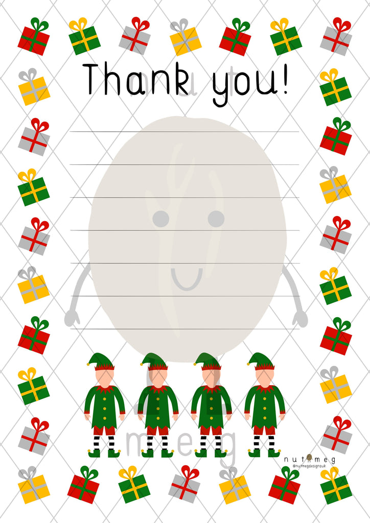Personalised 'Christmas' Thank You Notes (Lined)