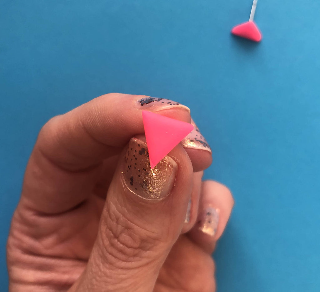Neon pink triangle clay earrings