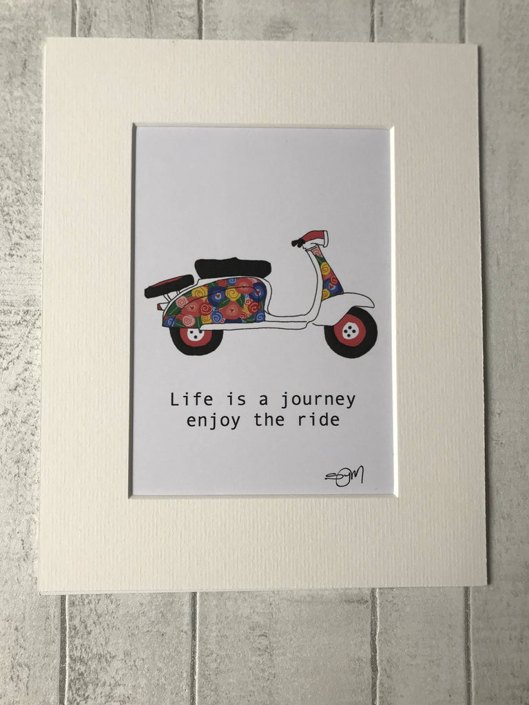 Life is a Journey enjoy the ride - Floral Scooter - Mounted Digital Art Print