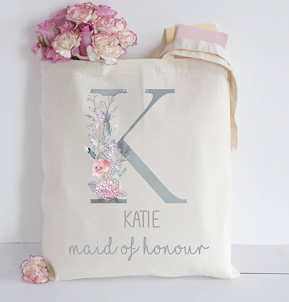 Personaised Wedding Party Initial Tote bag