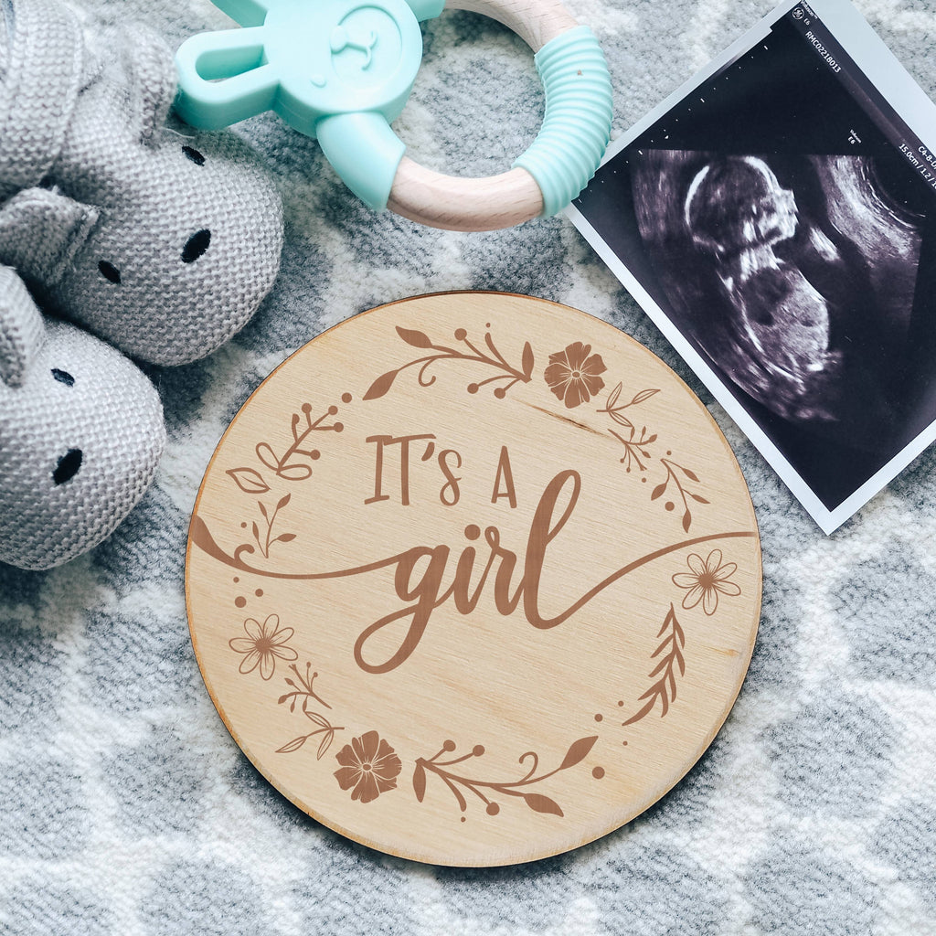 Floral Engraved Wooden It's A Girl Baby Gender Pregnancy Announcement Sign