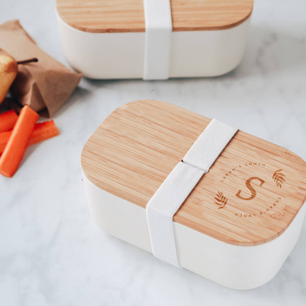 Botanical Initial Engraved Eco Bamboo Lunch / Snack Box