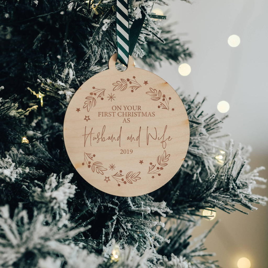 On Your First Christmas As Husband & Wife Hanging Tree Decoration Gift