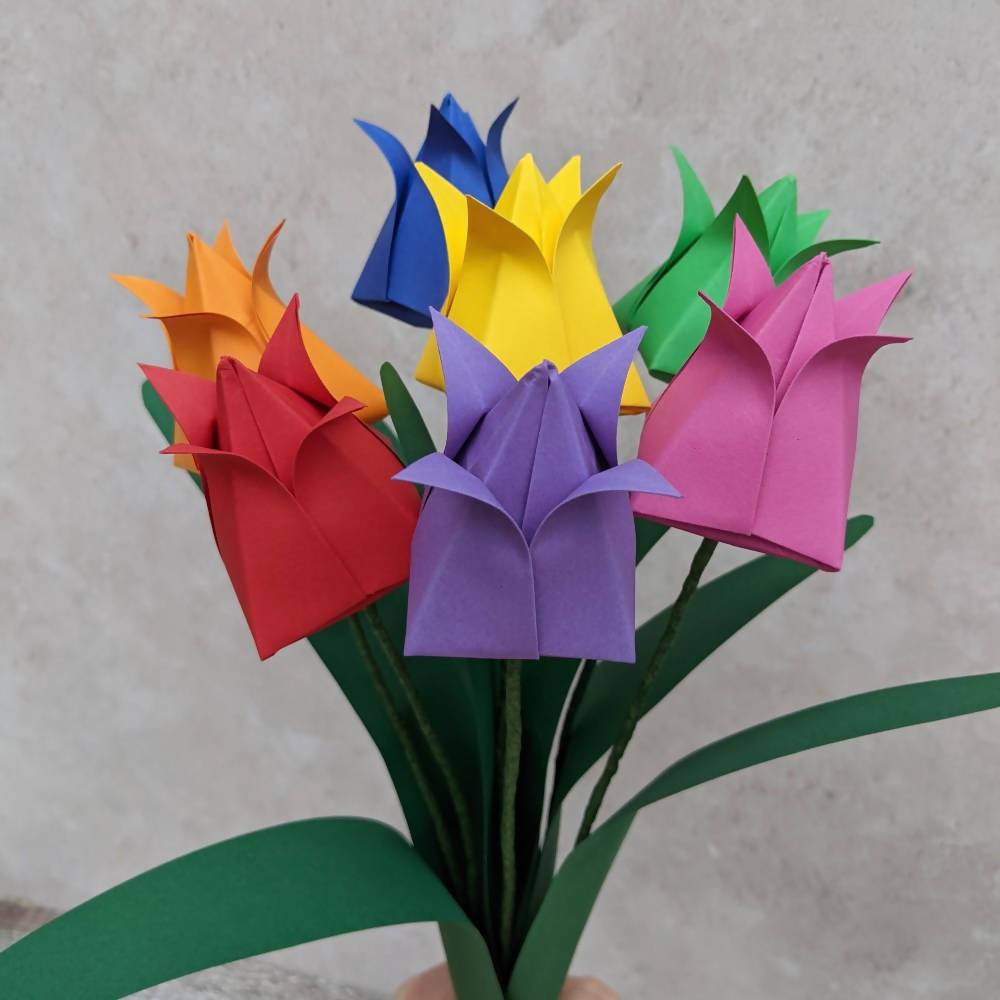 Bouquet of rainbow origami tulips