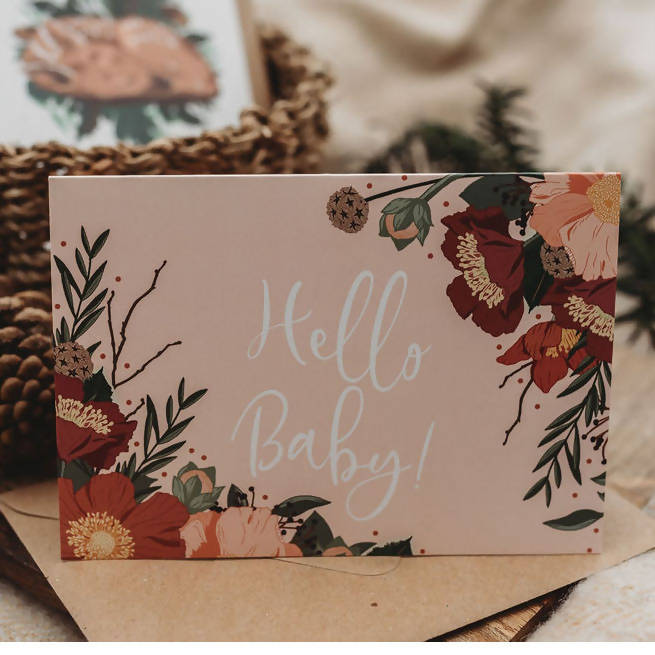 Floral Hello Baby Card, the perfect blush pink botanical card to welcome a new arrival into the world.