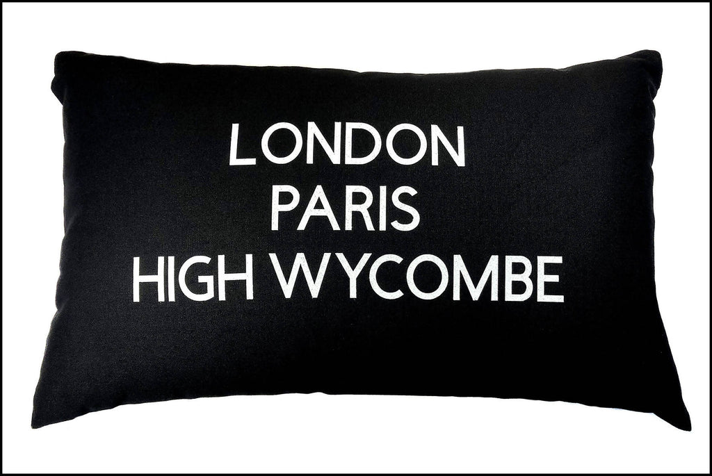 Three Towns Cushion - 50x30cm Cotton Cushion Personalised With Your Choice of Towns/Cities
