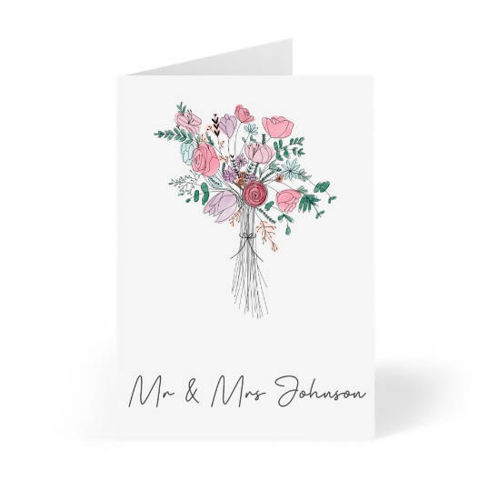 Personalised bouquet just married card | watercolour bouquet | Mr & Mrs card | custom wedding card