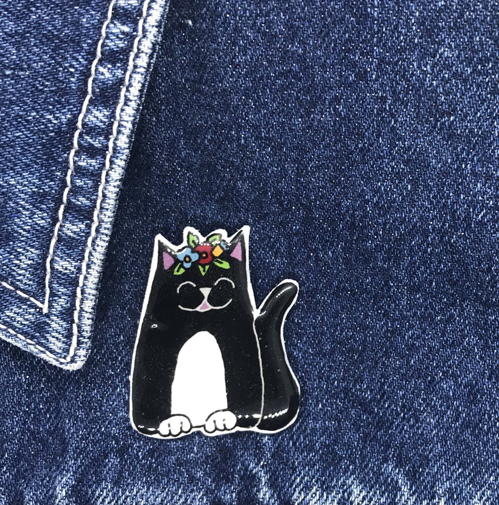 Black and White Cat - Pin Badge Handmade Frida's Cats Collection