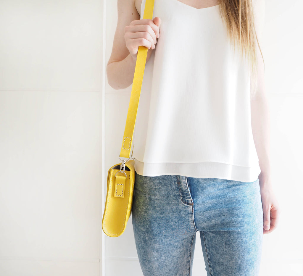 Yellow 'Chloe' Leather Clutch Bag