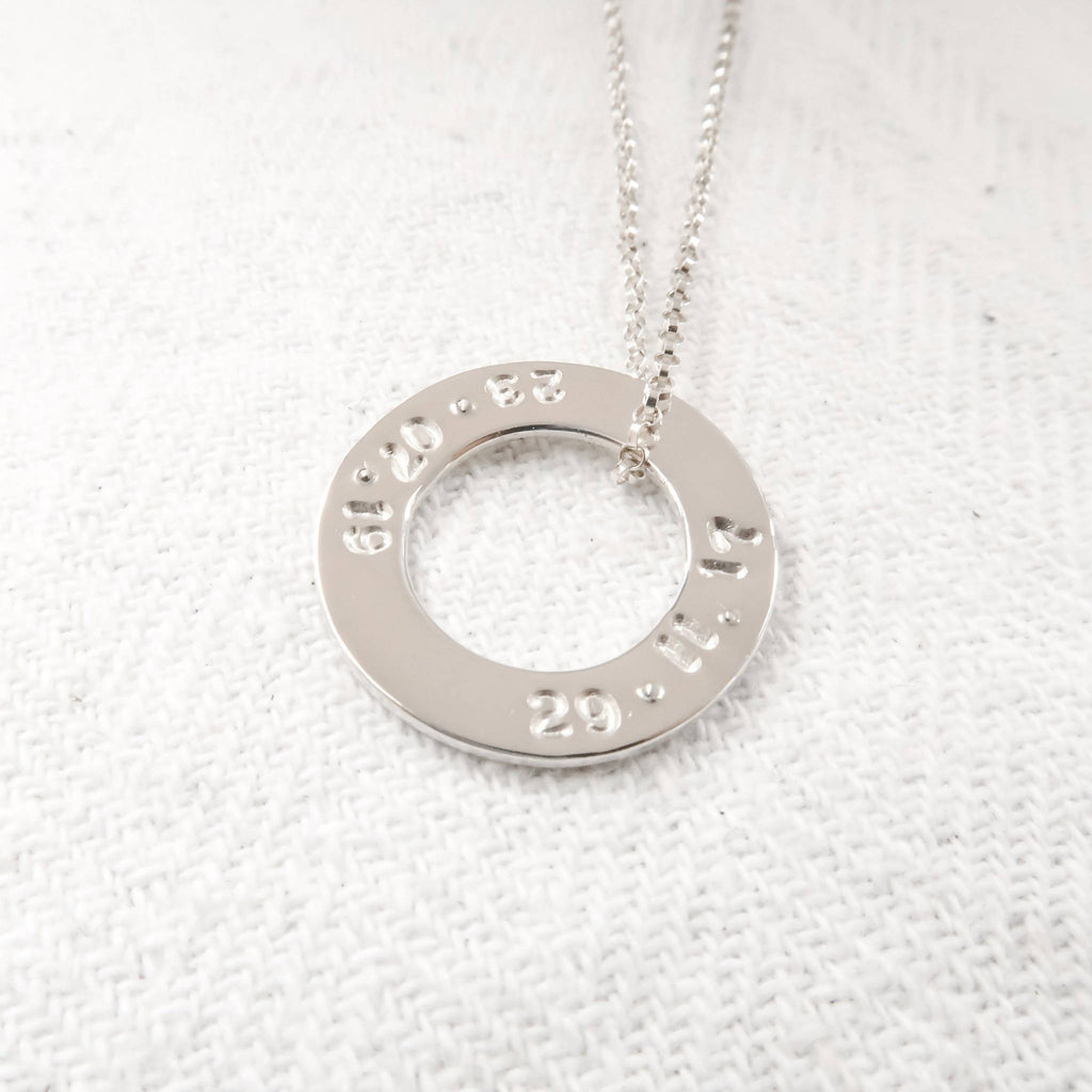 Silver disc necklace with personalised names, dates or quote