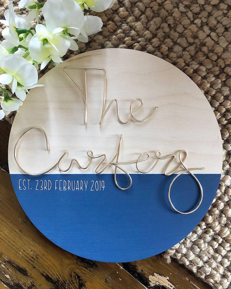 Personalised circle plaque with wire words - Wireword wall mount