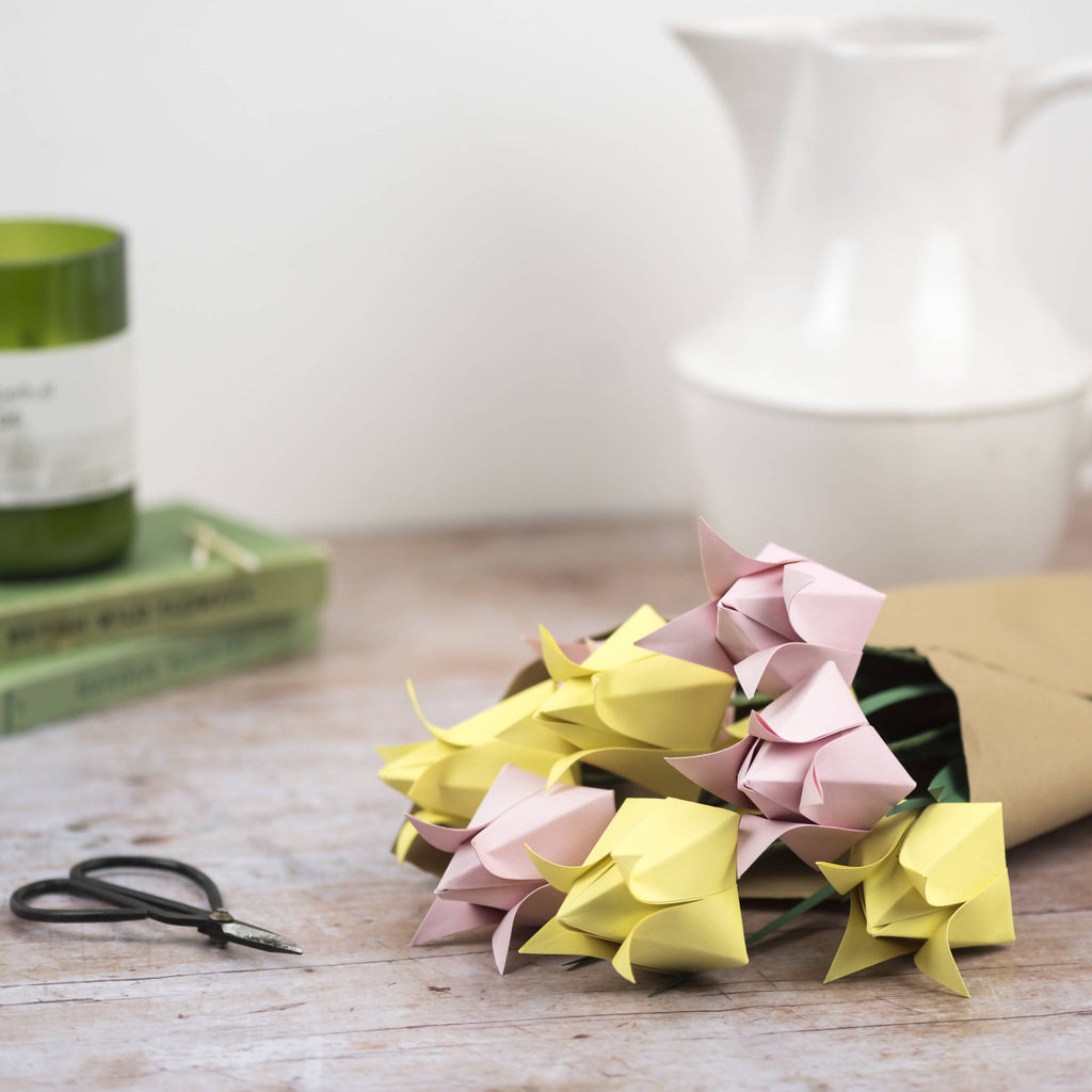 pink and yellow origami tulips wrapped