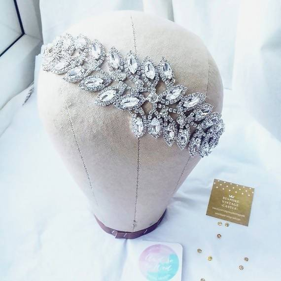 Silver Crystal Bridal crystal wedding hairpiece silver wedding hairband comb silver plated crystal wedding accessory