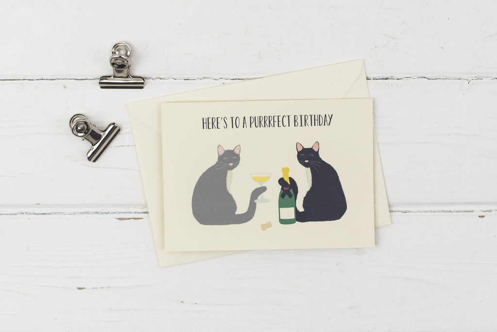 Cat purrrrfect birthday greetings card