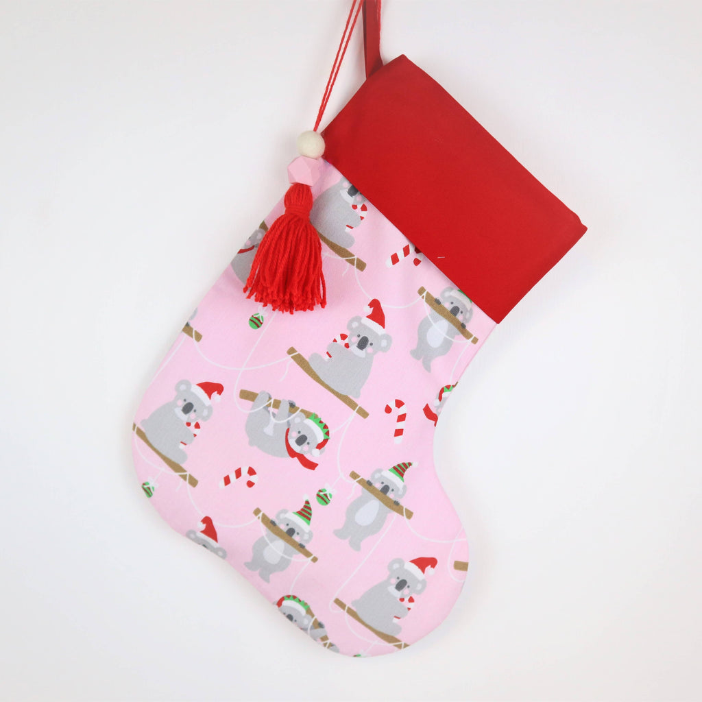 Personalised Pink, Koala Bear, Christmas Stocking