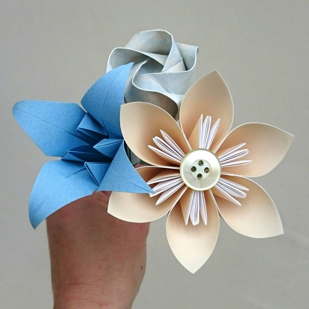Cream and blue origami paper flower bouquet, teacher gift