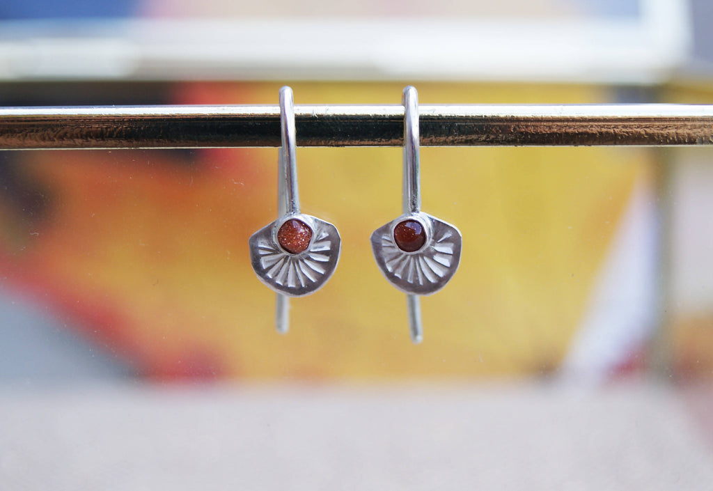 Goldstone and Silver Art Deco Thread-Through Earrings