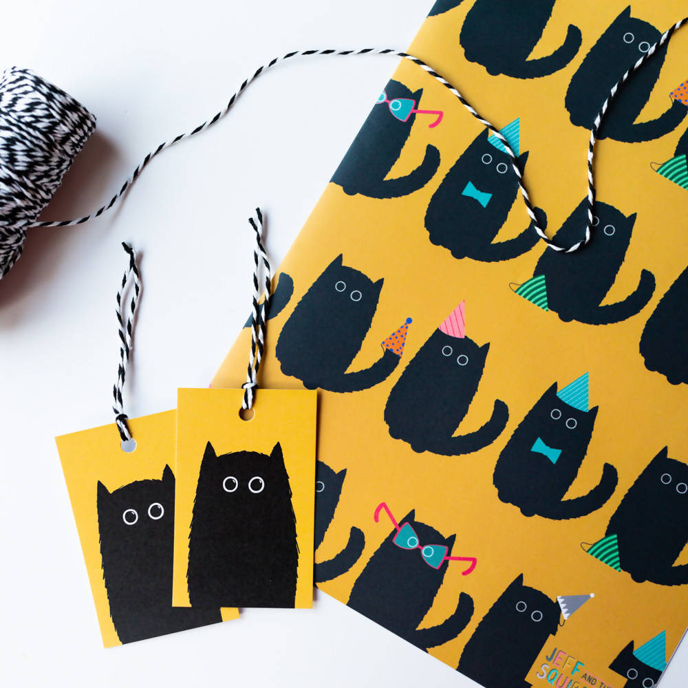 Black Cat Party Gift Wrapping Sheet A2, With Matching Tags