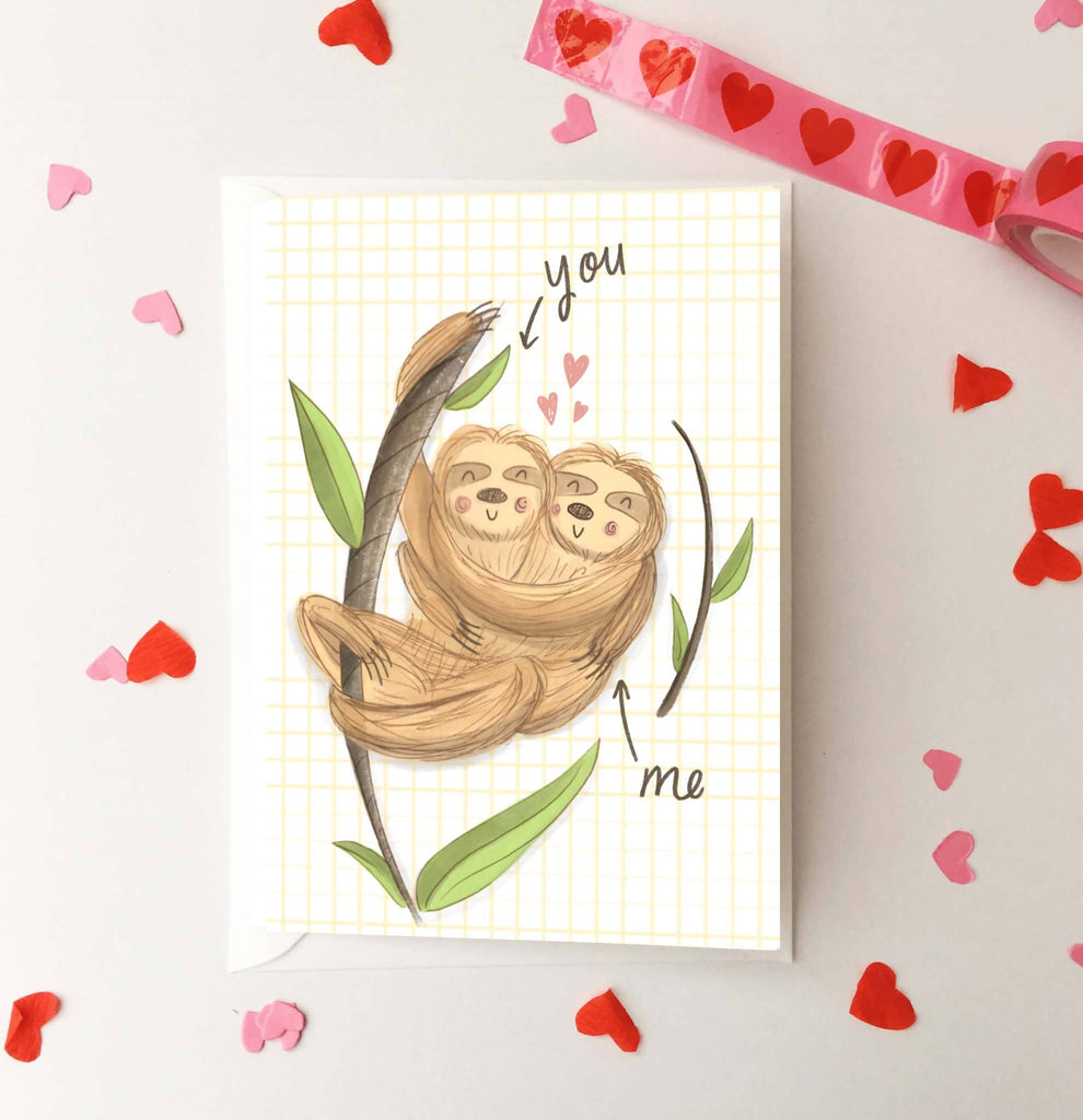 Cuddling Sloths in Love Anniversary Card