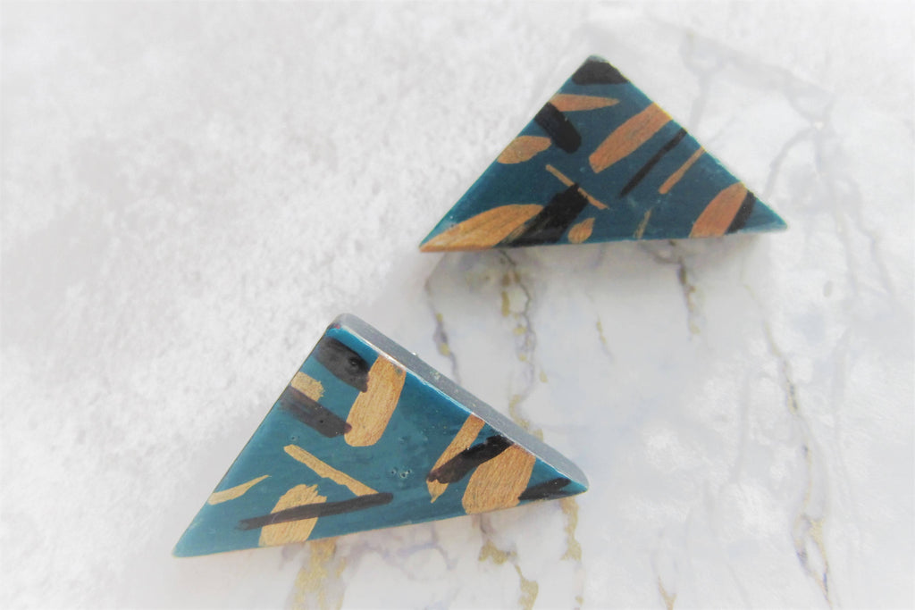 Teal Triangle brooch