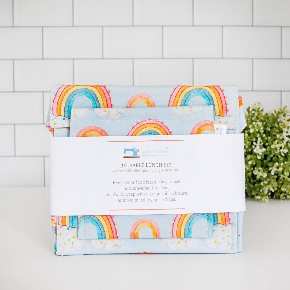 Reusable Lunch Set in Rainbows Print