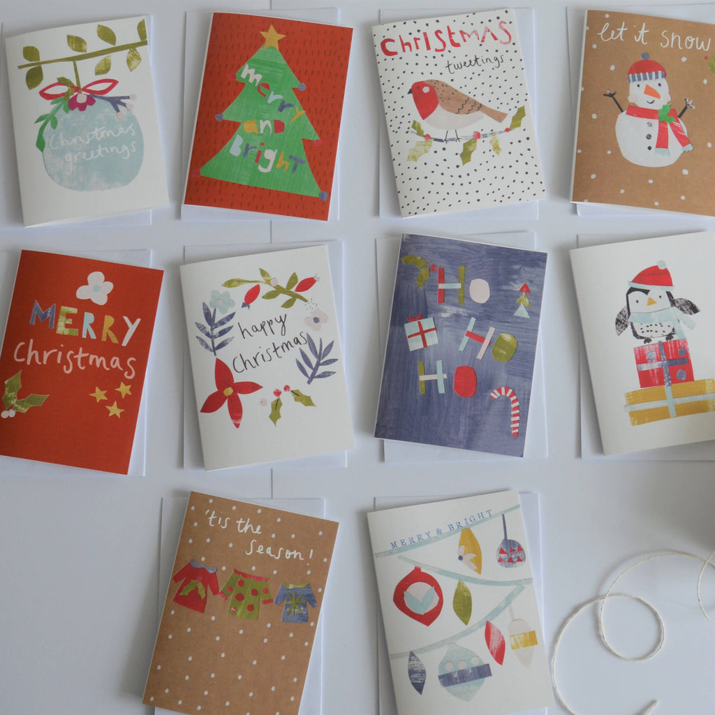 Pack of 10 Christmas Cards, Mixed designs, Xmas, Card pack