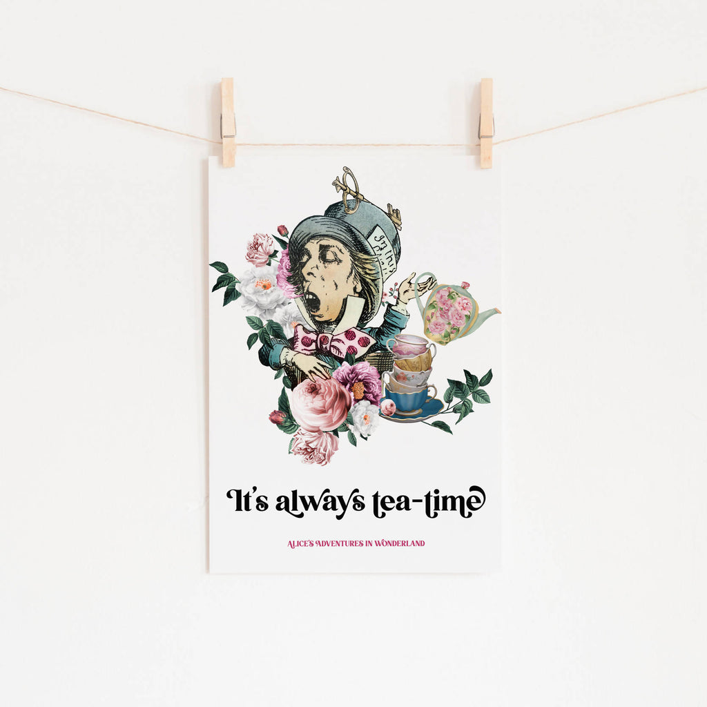 Alice's Adventures In Wonderland - 'Always Tea-Time' Print - Eco-Friendly