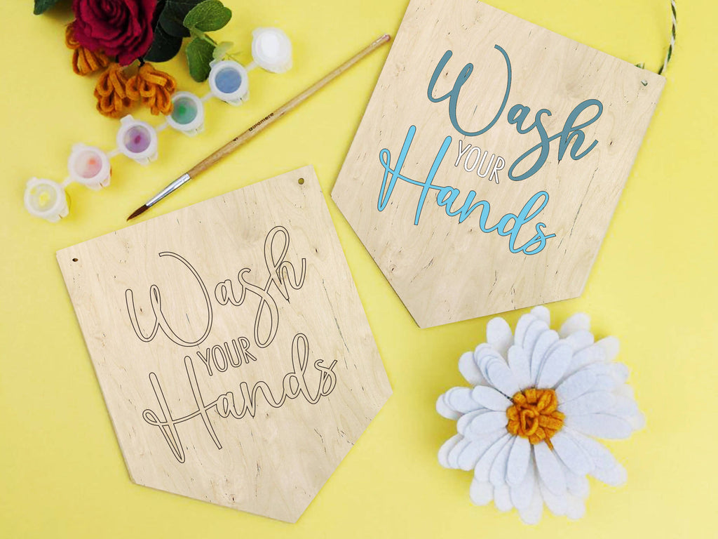 Wash your hands paint kit banner, wooden bathroom sign