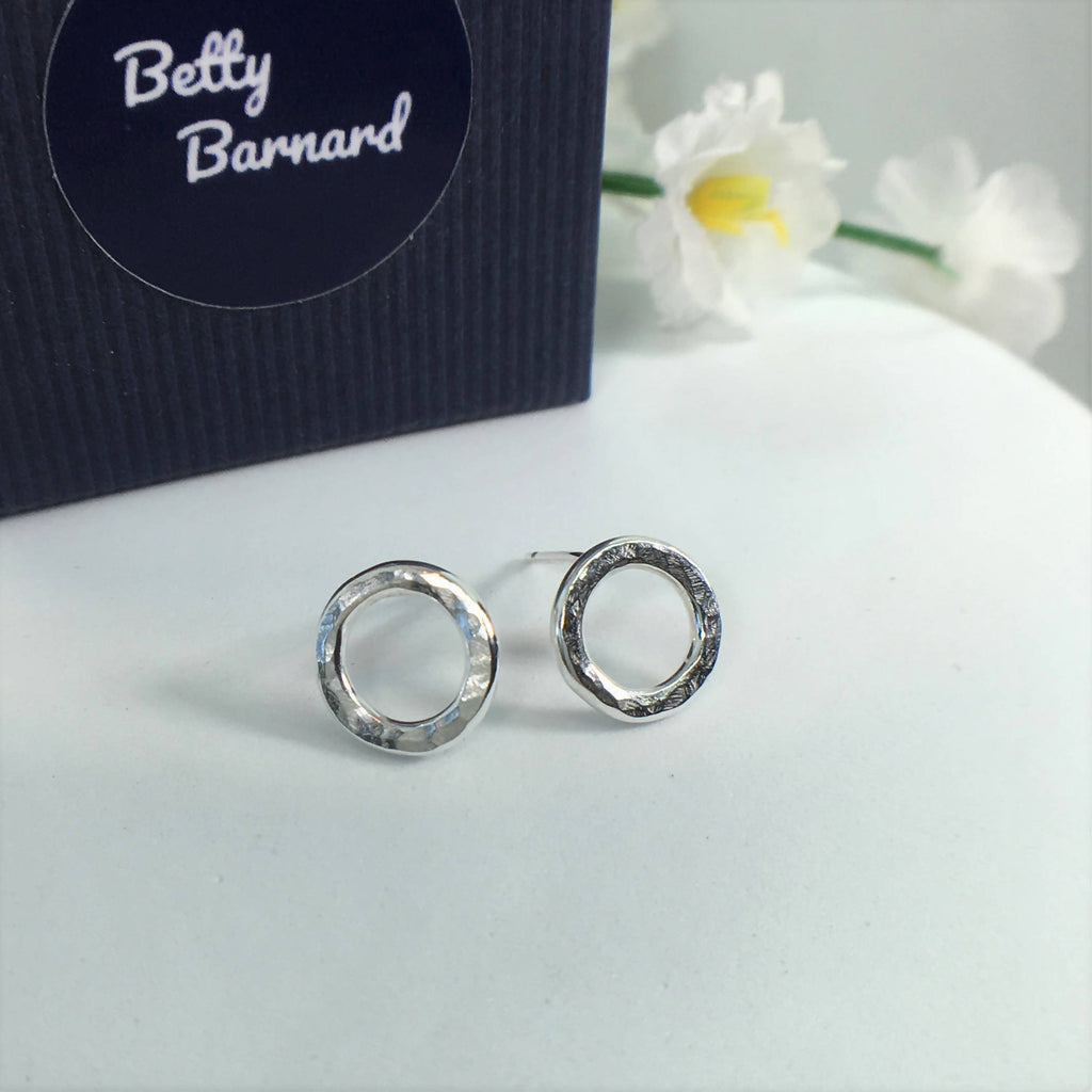 Sterling Silver Hammered Small Open Circle Stud Earrings