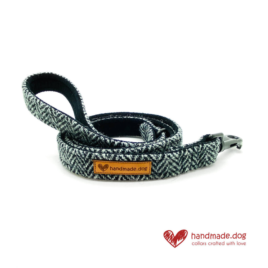 Black and Grey Herringbone 'Harris Tweed' Dog Lead