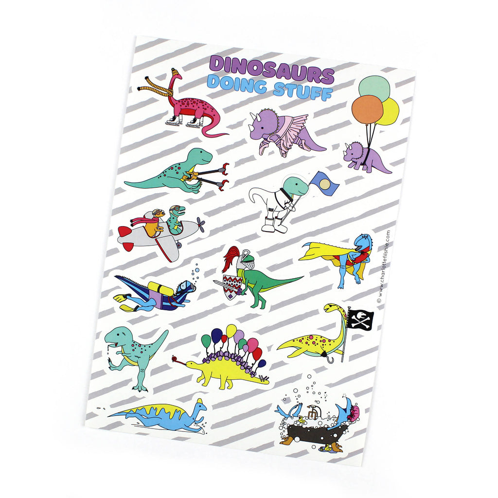 Dinosaurs doing stuff sticker sheet - A5
