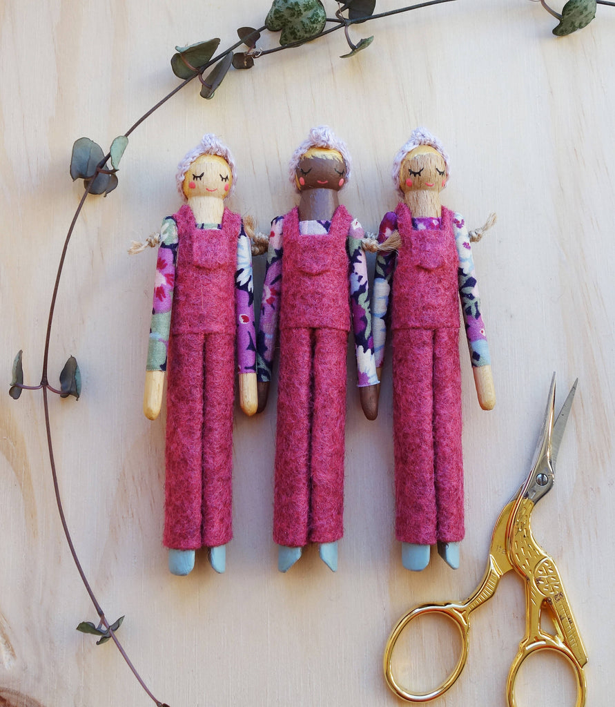 Retro Wooden Dungaree Peg Doll - Olivia