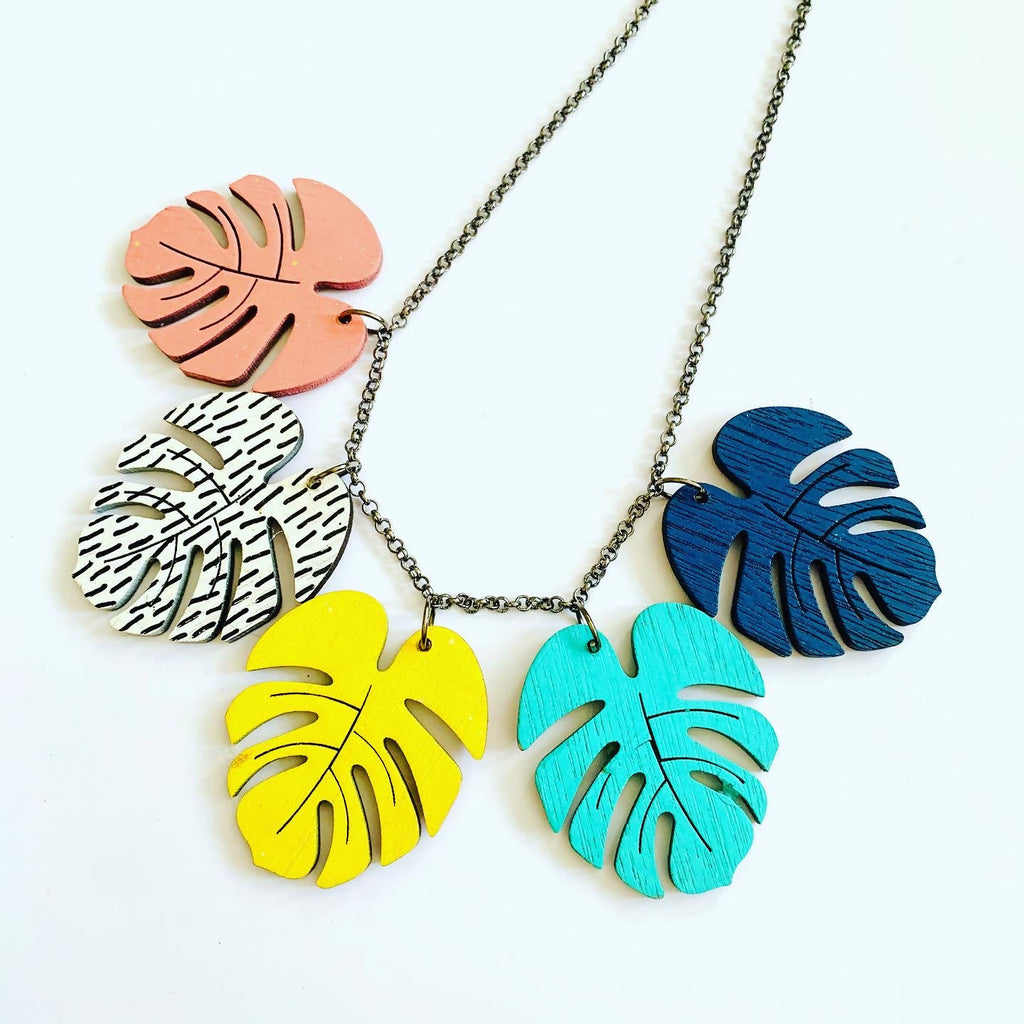 Colourful wooden monstera leaf necklace
