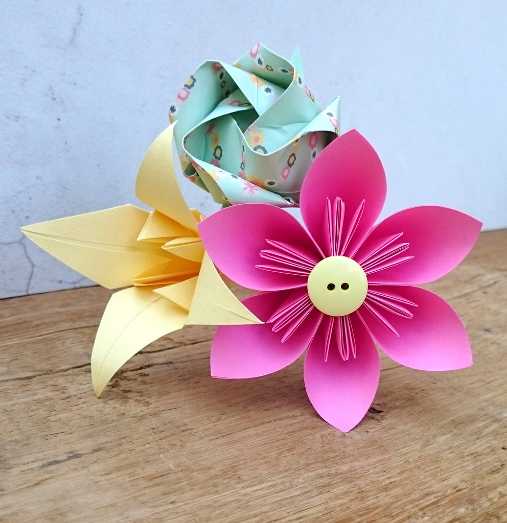 Pink origami paper flower bouquet, teacher gift