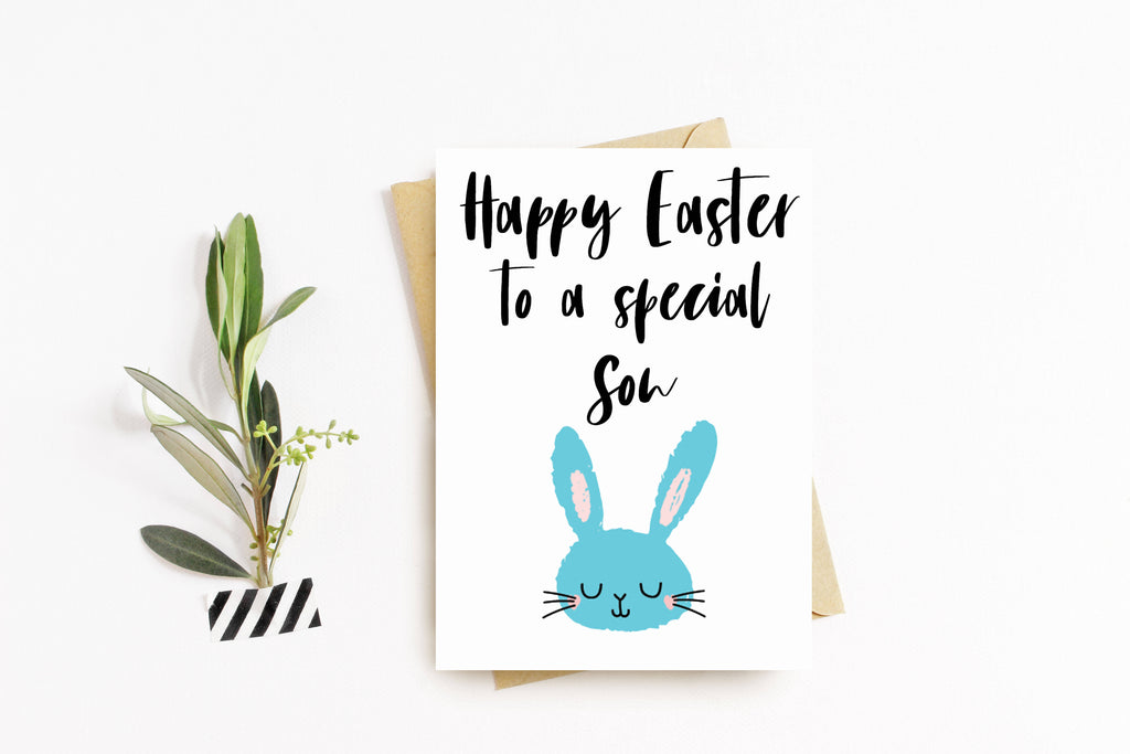 Personalised Happy Easter Greeting Card, Handmade, Easter Egg, Blank Inside, Easter egg card - for Son