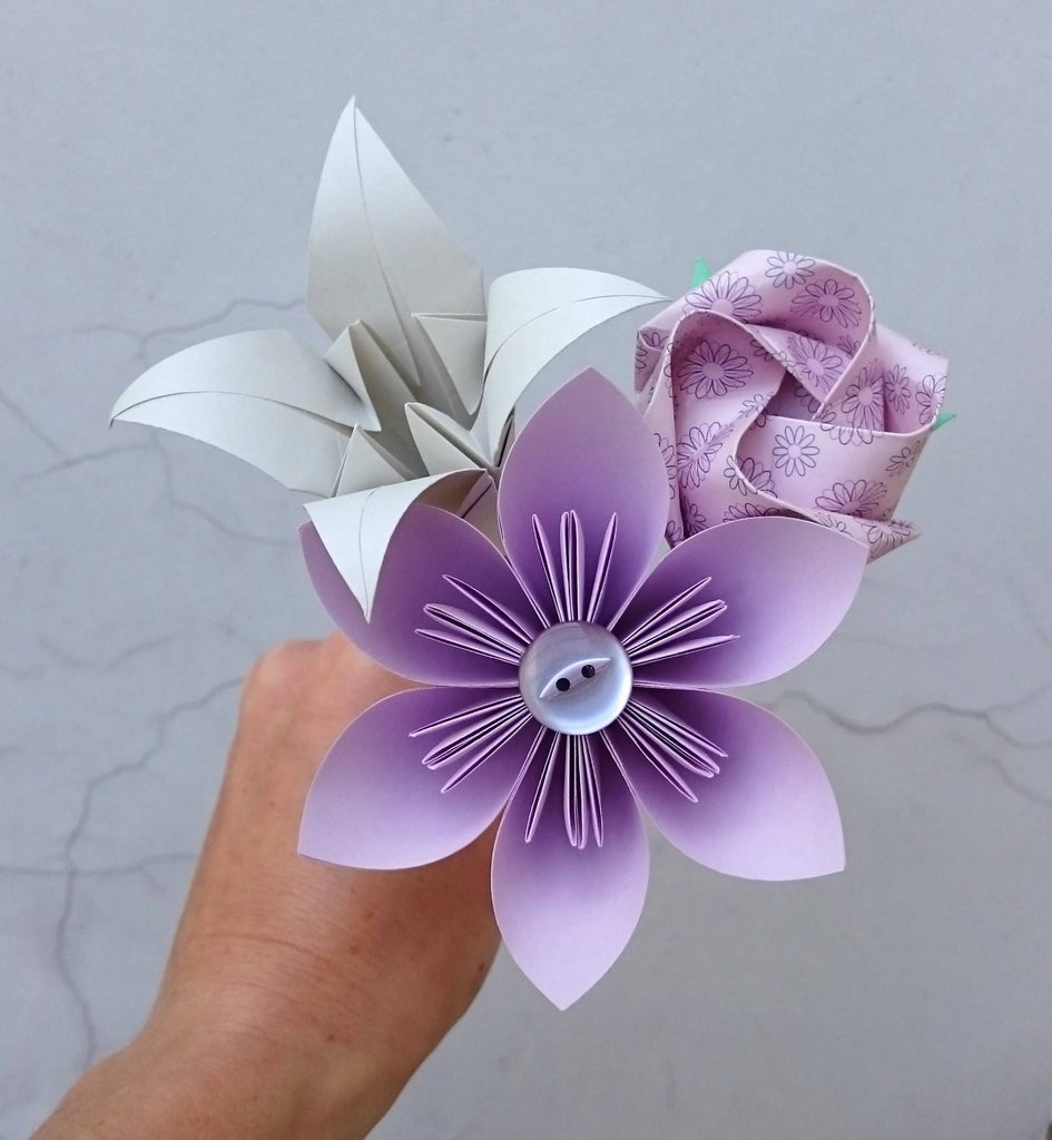 Lilac origami paper flower posy
