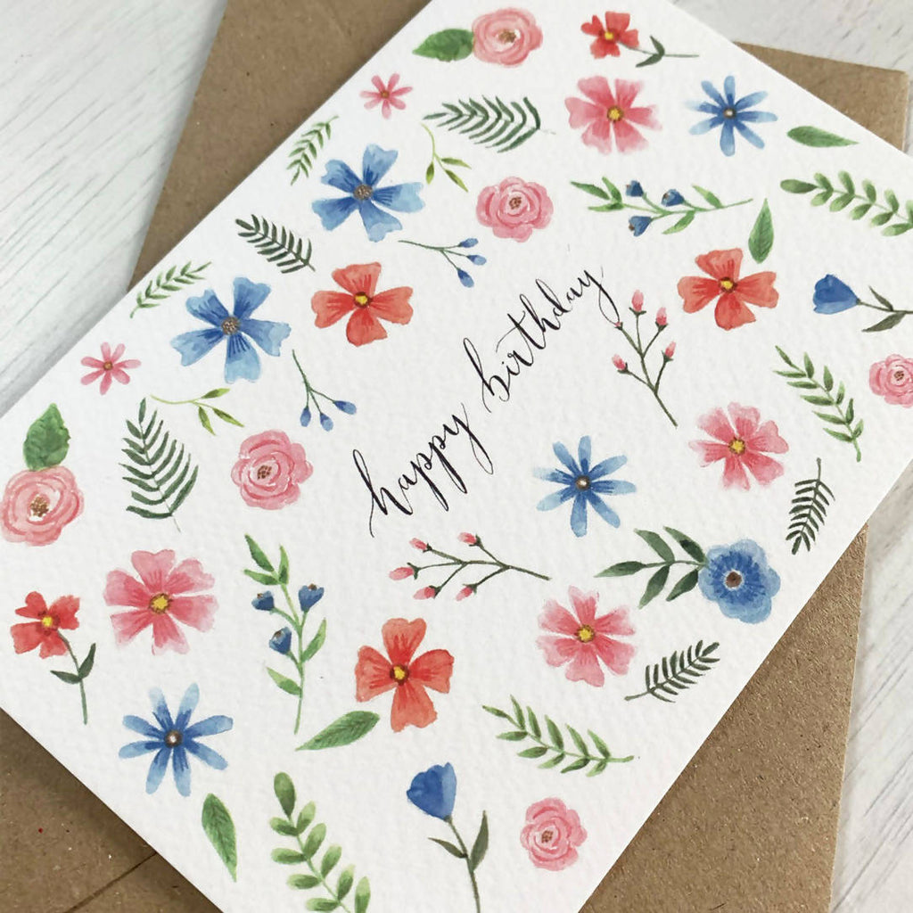 Ditsy Floral Happy Birthday Card