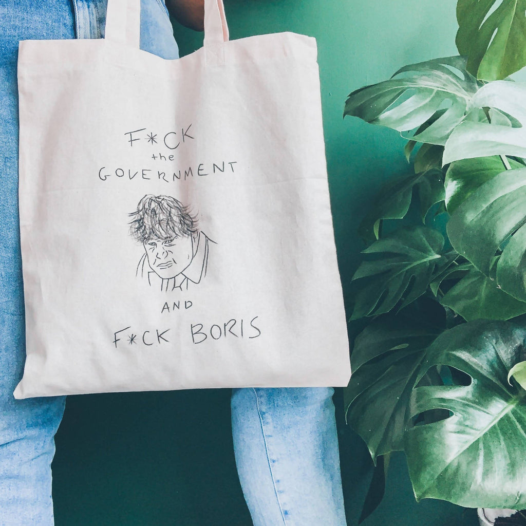 F*ck the Government & F*ck Boris Stormzy Lyrics Hand Painted Cotton Canvas Tote bag