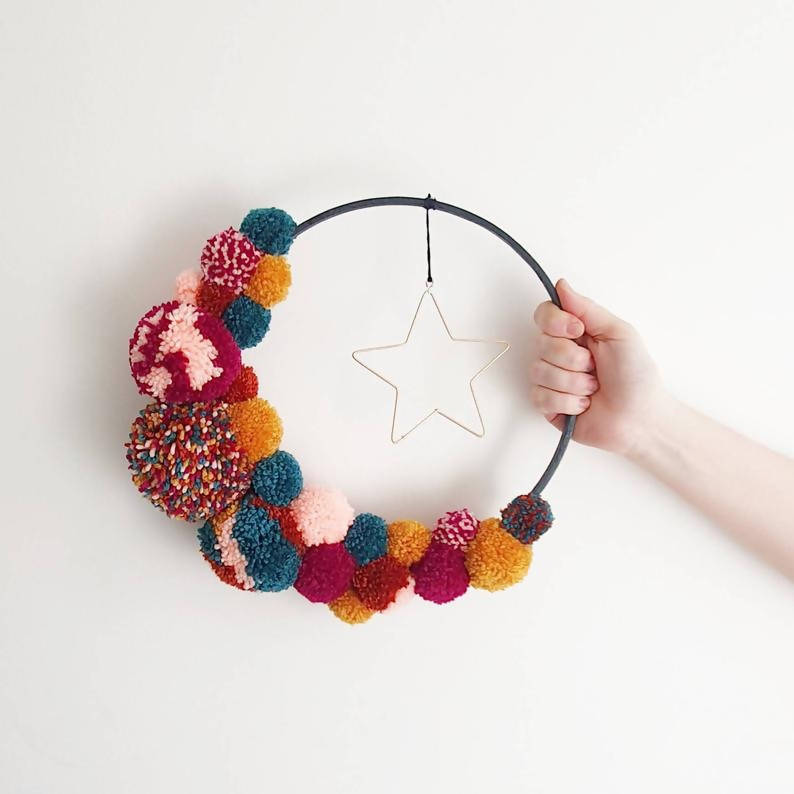 Crescent moon and star inspired pom pom hoop // statement wall hanging