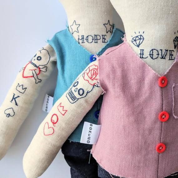 Personalised tattooed bear couple dolls